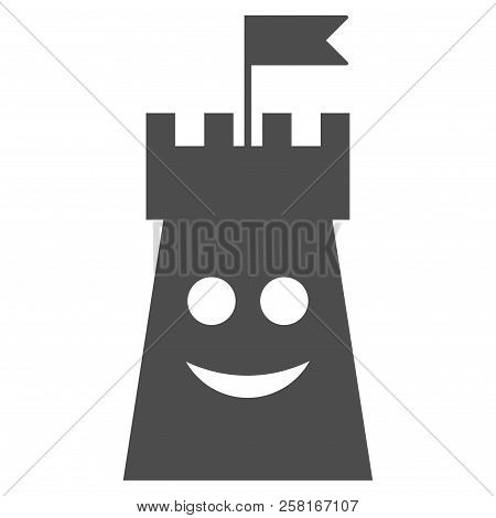Happy Bulwark Tower Vector Pictograph. Style Is Flat Graphic Grey Symbol.