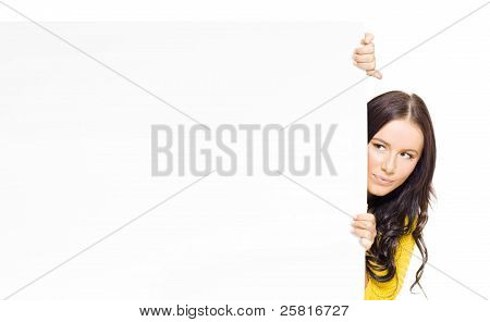Female Sales Person Holding Blank Advert Banner