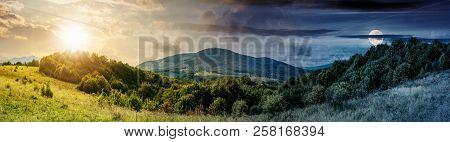 Time Change Concept Of Panoramic Mountainous Countryside. Forest On A Grassy Meadow. High Mountain I