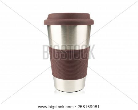 Side View Of Thermos Travel Tumbler Or Steel Mug Isolated On White Background, Concept Travel And Co