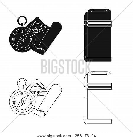Vector Illustration Of Mountaineering And Peak Sign. Set Of Mountaineering And Camp Stock Symbol For
