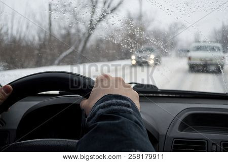 Concept Of Bad Weather And Dangerous On The Road In Winter