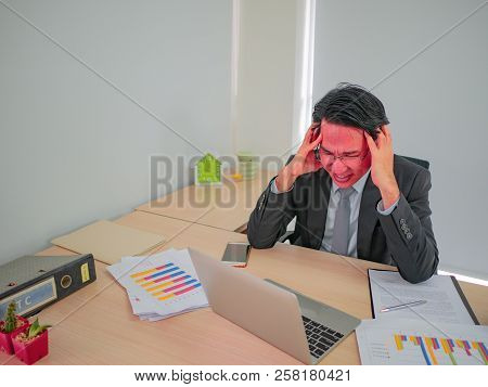Hot Head Business Man Very Angry Sitting On His Desk ,business Concept