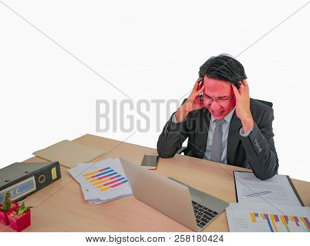Hot Head Business Man Very Angry Sitting On His Desk On Isolated Background