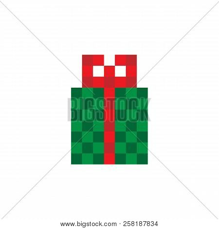 Gift Box Icon. 8 Bit Game Style. Isolated On White Background. Vector.