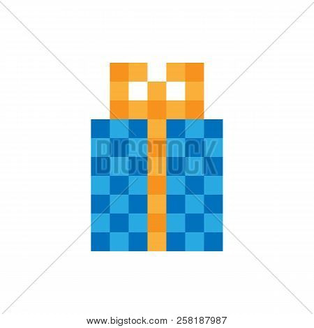Gift Box Icon. 8-bit Game Style. Vector.