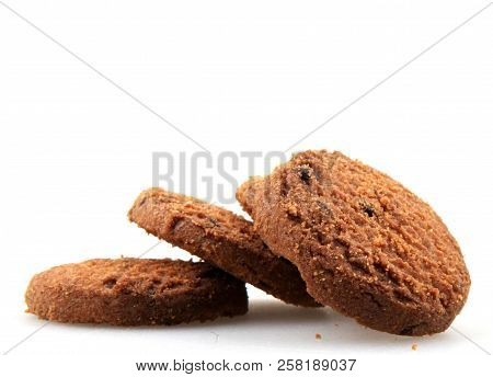 Chocolate Chip Cookie On White Background Stock Photos
