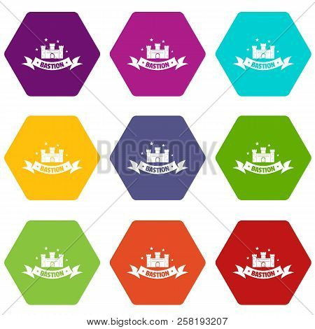 Building Bastion Icons 9 Set Coloful Isolated On White For Web