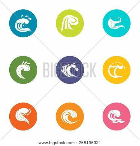 Breakwater Icons Set. Flat Set Of 9 Breakwater Vector Icons For Web Isolated On White Background