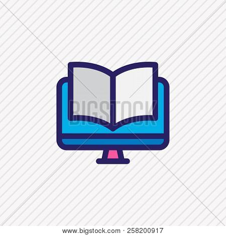 Vector Illustration Of Ebook Icon Colored Line. Beautiful Read Element Also Can Be Used As Online Re
