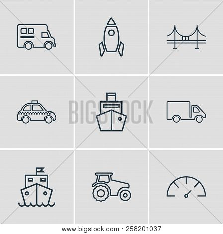 Vector Illustration Of 9 Transportation Icons Line Style. Editable Set Of Taxi, Campervan, Speedomet