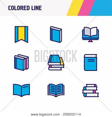 Illustration Of 9 Book Icons Colored Line. Editable Set Of Lecture, Ebook, Literature And Other Icon