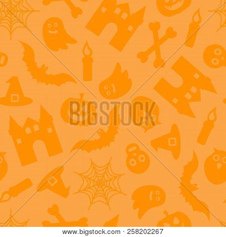 Happy Halloween Vector Seamless Pattern For Background