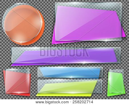 Vector Realistic Set Of Color Banners Under Transparent Glass Plates, Blank Shining Isolated Frames.