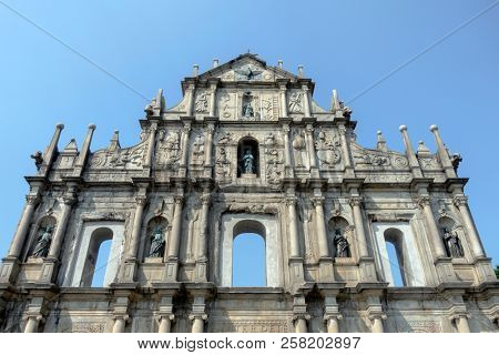 Macau, China - February 28, 2018.Ruins of St Paul's cathedral in Macau The ruins are one of Macau's best known landmarks.