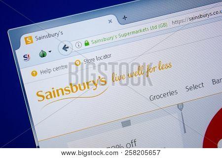 Ryazan, Russia - September 09, 2018: Homepage Of Sainsburys Website On The Display Of Pc, Url - Sain