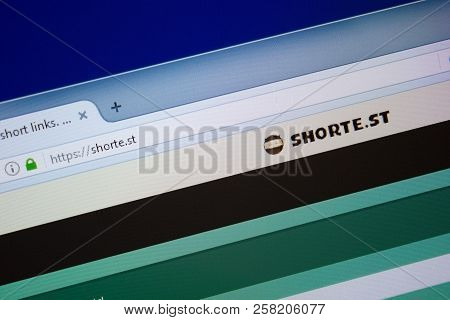 Ryazan, Russia - September 09, 2018: Homepage Of Shorte Website On The Display Of Pc, Url - Shorte.s
