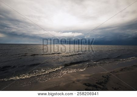 The Beginning Of The Storm Over The Baltic Sea. Storm Clouds Over The Water.