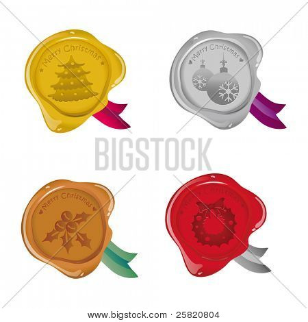 Vector sealing wax Merry Christmas