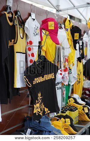 Paris, France - Jul 23 2018: Street Stand Full Of Various Souvenirs Of Le Tour De France During The