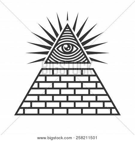 Masonic Illuminati Symbols, Eye In Triangle Sign. Vector