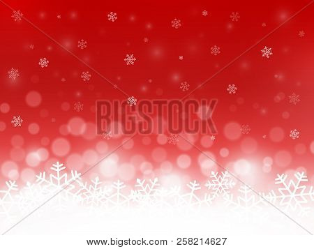 Red Snow Background. Snowflakes With Particles And Bokeh. Blurred Backdrop. Christmas Background. Ho