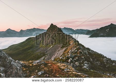 Mountain Ridge Over Clouds Landscape Aerial Sunset View In Norway Travel Tranquil Scenery