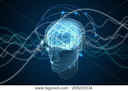 Consciousness, Metaphysics Or Artificial Intelligence Concept. Waves Go Through Human Head. 3d Rende