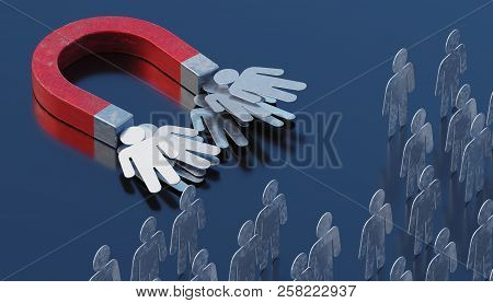 Strong Magnet Is Targeting And Attracting Clients. Marketing Concept. 3d Rendered Illustration.