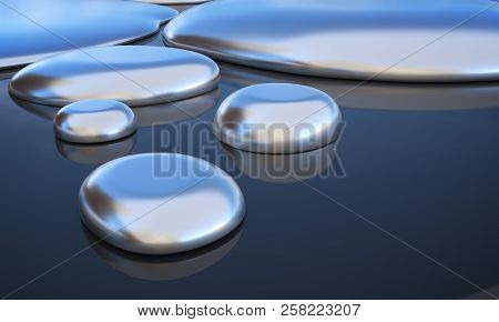 Droplets Of Liquid Metal - Mercury. 3d Rendered Illustration.