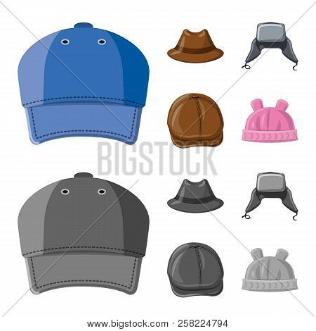 Isolated Object Of Headwear And Cap Icon. Collection Of Headwear And Accessory Stock Vector Illustra