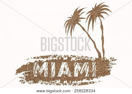 Logo with letters of Miami Florida on sea sand