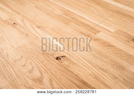 Wood Texture, Wooden Plank Grain Background, Desk In Perspective Close Up, Striped Timber, Old Table