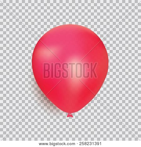 Balloon Of Red Color Realistic Design Vector Isolated On Transparent Background. Balloon Made From R