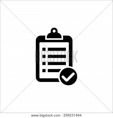 Clipboard List Icon. Black Isolated Clipboard Symbol With List And Checkbox.