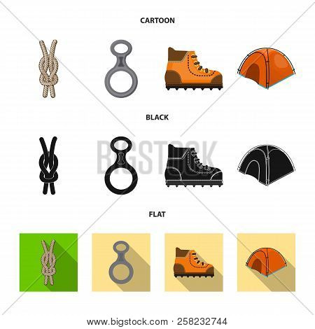 Isolated Object Of Mountaineering And Peak Logo. Collection Of Mountaineering And Camp Stock Vector