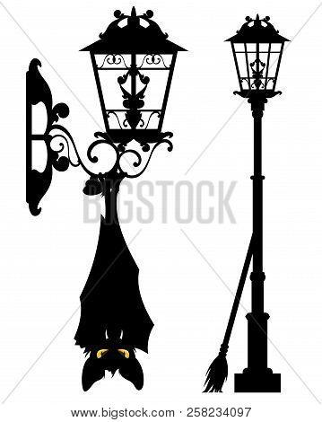 Spooky Bat Hanging On Streetlight - Halloween City Life Vector Silhouette Decor Set