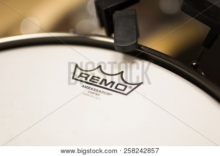 Belgrade, Serbia - July 23, 2018: Detail Of The Remo Instruments Drum. Remo Inc. Is An American  Per