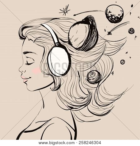 Beautiful Happy Girl With Headphones On Her Head. Vector Space Style Illustration.