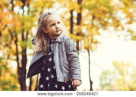 Cute Little Girl Playing In Autumn Park. Happy Child Playing With Fallen Leaves. Autumn Kids Fashion