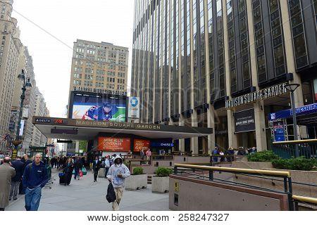 New York City - May 6, 2013: Entrance Of Madison Square Garden On Seventh Avenue, Manhattan, New Yor