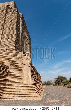 Pretoria, South Africa, July 31, 2018: A Sculpture Of Voortrekker Leader Andries Pretorius On The No