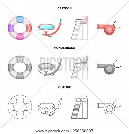 Vector Illustration Of Pool And Swimming Sign. Collection Of Pool And Activity Stock Vector Illustra