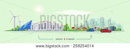 Vector Illustration Of Rechargeable Lithium-ion Battery Energy Storage And Renewable Solar Wind Elec