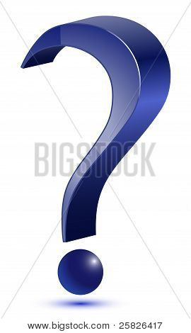 3d question mark icon - blue color poster