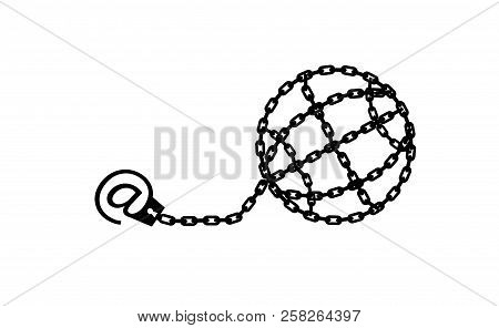 Globe chained and shackled. Modern metaphor, phone internet and social networks addiction icon. Stylish vector concept illustration isolated. Addicted to social networking. Handcuff email alias. poster