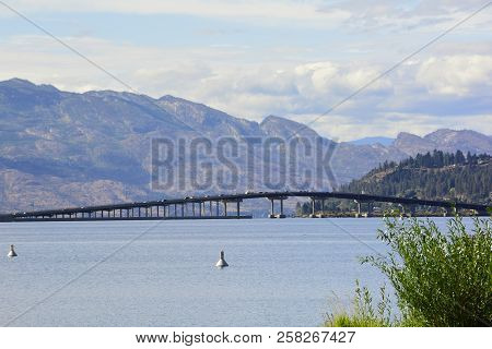 Lake Okanagan And The Kelowna Bridge Coming And Going To Kelowna. Come To The Bc Interior And Visit