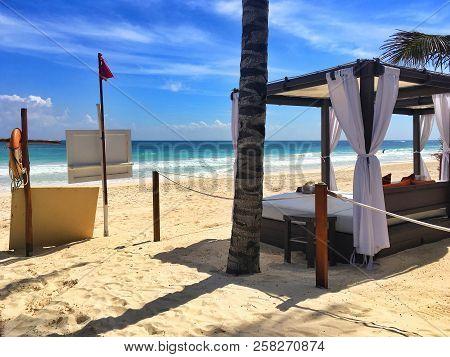 Playa Del Carmen, Mexico - February 3, 2018: Luxury Deck Chairs On The Beach In Playa De Carmen At C