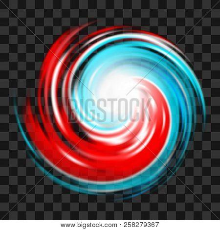 Red And Blue Hurricane Symbol, Tornado, Typhoon, White Swirl Clouds, Twister On Dark Transparent Bac