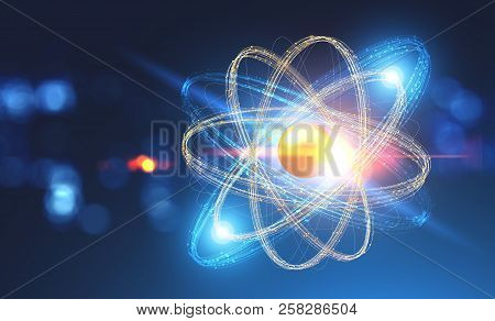 Glowing Gold And Blue Atom Model Over Blurred Dark Blue Background. Concept Of Science, Chemistry An